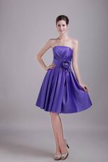 Strapless Knee Length Skirt Blue Violet 2014 Prom Dress For Sale