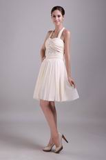 Beaded Short Chiffon Prom Dress Light Yellow With Halter