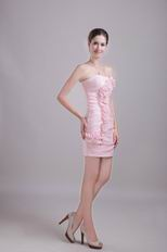 Strapless Sheath Baby Pink Short Prom Dress With Rosette Decorate
