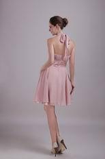 Designer Short Prom Dress Made By Pearl Pink Chiffon Fabric