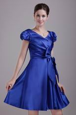 A-line Skirt Discount Short Taffeta Prom Dress In Royal Blue
