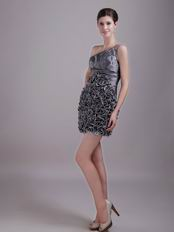 Sheath One Shoulder Ruffled Skirt Silver Grey Short Prom Dress