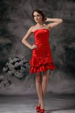 Strapless Scarlet Mini-length Prom Dress For Girls Wear