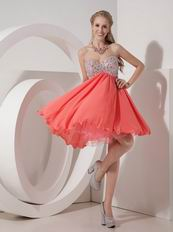 Sweetheart Beaded Watermelon Chiffon Short Prom Dress
