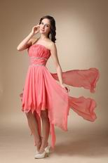 Asymmetrical Watermelon Chiffon Drapped Skirt Short Prom Dress