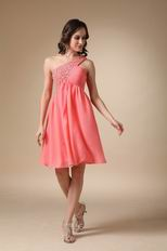 Watermelon Beaded Short Prom Dress With One Shoulder Skirt