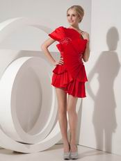 One Shoulder Scarlet Short Prom Dress With Chinese Fan Design
