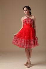 Strapless Knee-length Red Short Prom Dress For Girls Wear