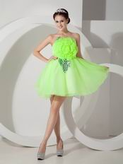 Bright Lawn Green Short Prom Dress With Sequined Leaves
