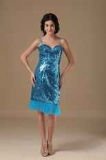 Tea Length Flaring Sequin Fabric Peacock Blue Prom Party Dress