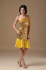 Single One Shoulder Golden Flaring Sequin Fabric Short Prom Dress