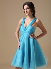 Straps V-neck Knee-length Aqua Organza Short Prom Dress