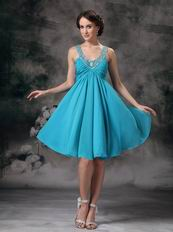 V-neck Mini-length Dodger Blue Chiffon Short Prom Dress