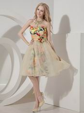 Colorful A-line Sweetheart Bowknot Printed Fabric Short Prom Dress