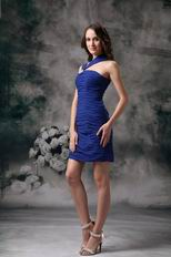 Asymmetrical Neckline Ruched Royal Blue Short Prom Dress Homecoming
