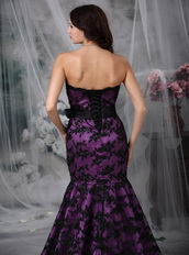 Purple Strapless Mermaid Petite Prom Gown With Black Lace Luxury