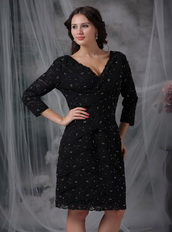 V-neck 3/4 Sleeves Black Lace Mother of the Bride Dress Luxury