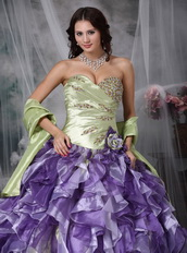 Colorful Ball Gown Ruffles Cascade Lovely Quinceanea Dress Luxury