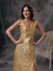 Golden Sequin V-neck Long Skirt With Split Night Club Dress Luxury
