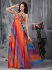 Colorful Straps Floor-length Chiffon Prom Dress Printed Luxury