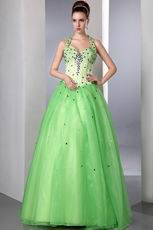 Halter Spring Green Organza Prom Dress With Purple Crystals