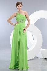 Right One Shoulder Apple Green Evening Dress With Split