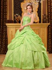 Spring Green Strapless Embroidery Decorate Quinceanera Dress