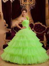 Flowers Strap Lemon Green Layers Organza Skirt Quinceanera Dress