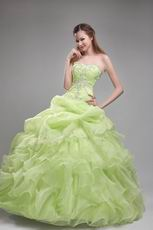 Cheap Spring Green Quinceanera Ruffled Floor Length Dress