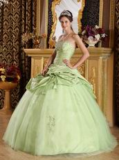 Yellow Green Cheap Quinceanera Gown With Handmade Flowers