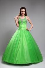 Halter Top Style Beaded Quinceanera Dress In Spring Green