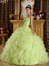Yellow Green Cascade Ruffled Skirt Sweetheart Quinceanera Dress