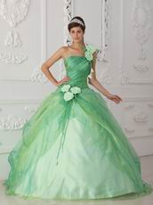 Single Shoulder Apple Green Prom Gown With Hand Made Flowers