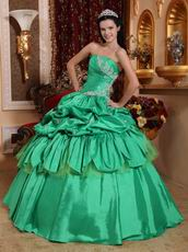 Strapless Spring Green Turquoise Quinceanera Party Gown