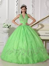 2019 Spring Green Halter Floor Length Quinceanera Ball