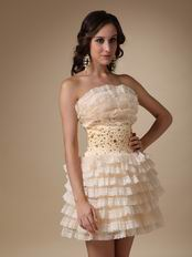 Ruffled Layers Skirt With Champagne Lace Sweet 16 Dress