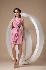 Pearl Pink V Neckline Sweet Sixteen Dress With Black Sash