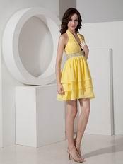 Yellow Halter Layers Mini Sweet 16 Dresses Under $100