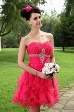 Cute Strapless Ruffle Skirt Rose Pink Sweet 16 Dresses