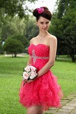 Cute Strapless Ruffle Skirt Rose Pink Sweet 16 Dresses