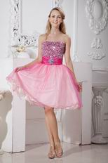 Beaded Strapless Pink Organza Sweet Sixteen Dresses