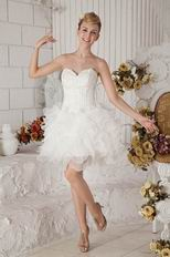 Beaded Mini Length Ivory Organza Sweet 16 Dress For Cheap