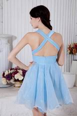 Deep V Neck Baby Blue Sweet 16 Girls Dress By Designer