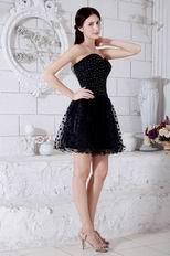 Sweetheart Beaded Bodice Mini Black Dress For Sweet 16
