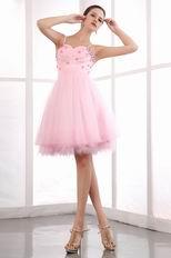 Lovely Spaghetti Straps Sweetheart Pink Short Sweet 16 Dress