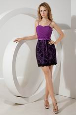 Purple Chiffon Designer Sweet 16 Dress With Black Lace Skirt