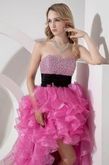 High Low Asymmetrical Ruffles Skirt Rose Pink Sweet 16 Dress