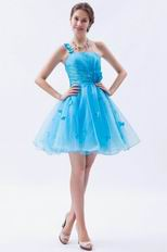 Cheap One Shoulder Auqa Dresses For Sweet Sixteen Party Wear