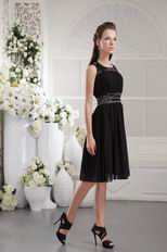 Black Scoop Knee-length Chiffon Sweet 16 Dress With Beading