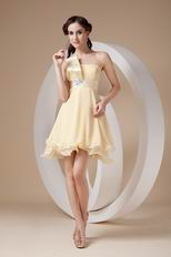 Daffodil Chiffon One Shoulder Neck Sweet Sixteen Dress